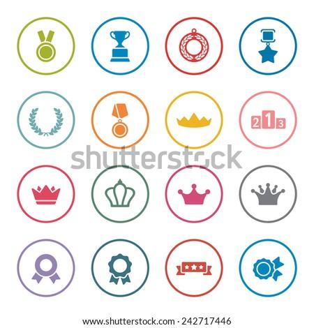 Awards icons set - stock vector