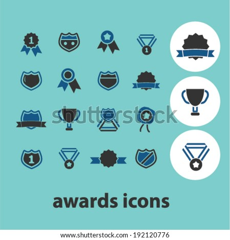awards icons, signs set, vector - stock vector