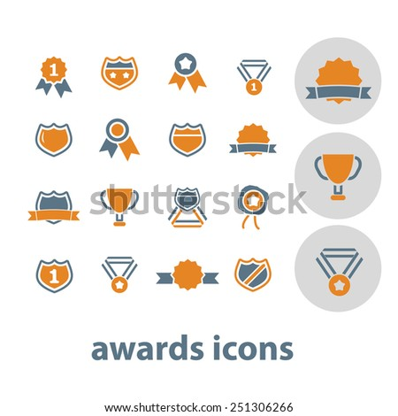 awards, trophy, winner cup isolated design flat icons, signs, illustrations vector set on background - stock vector