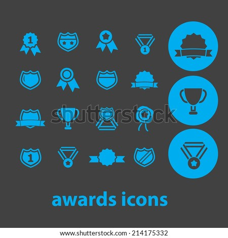 awards, victory isolated icons, signs, illustrations, silhouettes, vectors set - stock vector