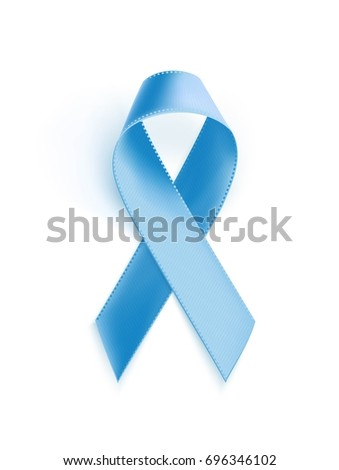 Awareness blue ribbon. Realistic blue ribbon, prostate awareness symbol, isolated on white background. Vector illustration