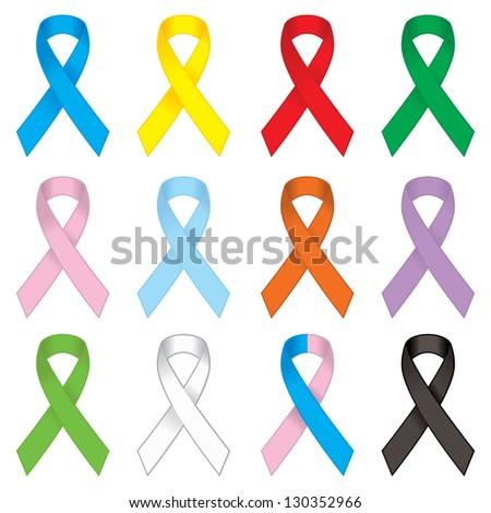 awareness ribbons set - stock vector