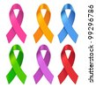 Awareness ribbons. Vector illustration. - stock photo