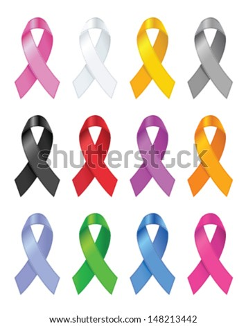 Awareness ribbons. Vector illustration. - stock vector