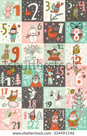 Awesome advent calendar in vector. Lovely calendar with a lot of holiday symbols: Santa, fir tree, reindeer, snowman, birds, gifts, toys, snow, angels and others. Sweet Christmas card in cartoon style