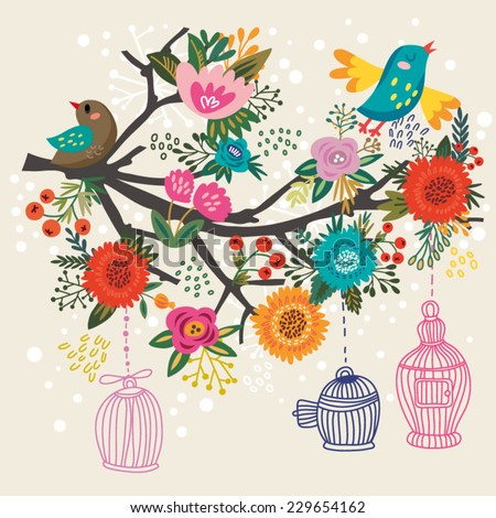 Awesome Blossom branch with birds and cages. Bright floral card. Spring and summer concept background. Bright illustration, can be used as invitation card. Vector floral  wallpaper. - stock vector