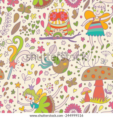 Awesome childish seamless pattern with Fairies, mushrooms, birds and flowers. Spring floral vector background can be used for pattern fills, web page backgrounds, surface textures - stock vector