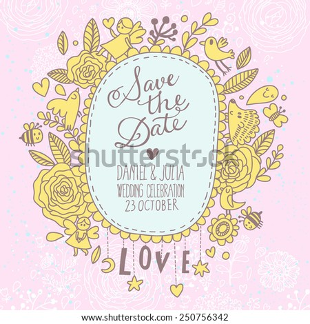 Awesome Save the Date card in vintage style. Delightful wedding invitation with a lot of romantic elements: flowers. birds, bee, hearts and others in vector - stock vector