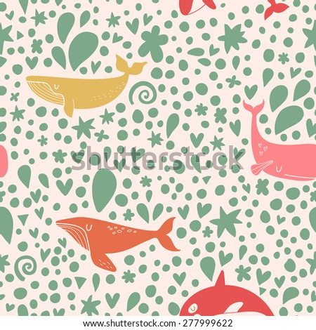 Awesome seamless pattern with stylish whales in bright colors. Sweet underwater concept background in vector - stock vector