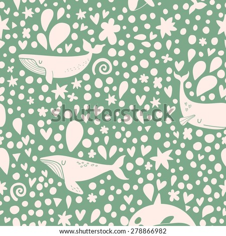 Awesome seamless pattern with stylish whales in green and white colors. Sweet underwater concept background in vector. Lovely whales with stars and hearts - stock vector