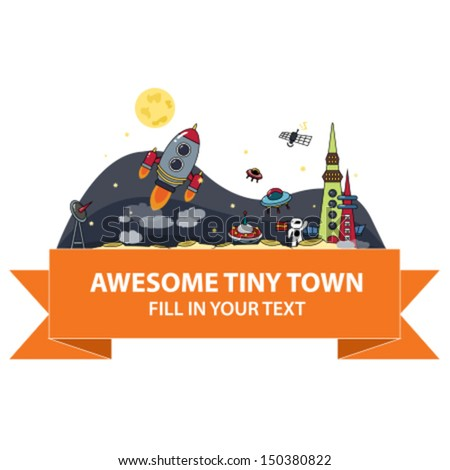 Awesome tiny town - stock vector