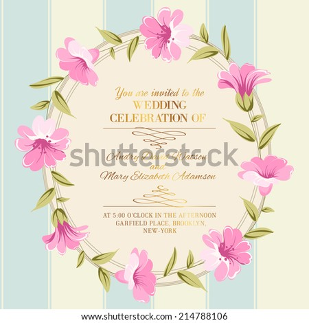 Awesome vintage label of color flowers. Vector illustration. - stock vector
