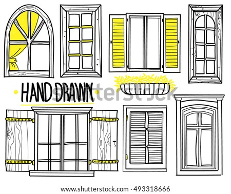 vintage window drawing. a set of drawings by hand. shuttered windows, open modern vintage window drawing e