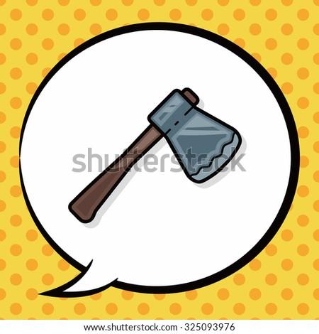 axe doodle, speech bubble - stock vector