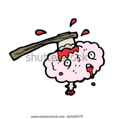 axe in brain cartoon - stock vector
