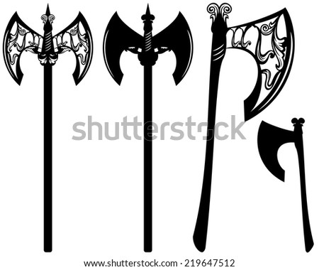 axes decorative vector design set - black ornate weapon collection over white - stock vector