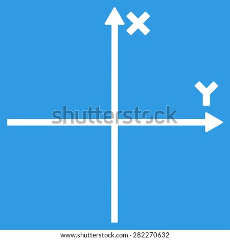 Axis icon from Basic Plain Icon Set. Style: flat vector image, white color, rounded angles, blue background. - stock vector