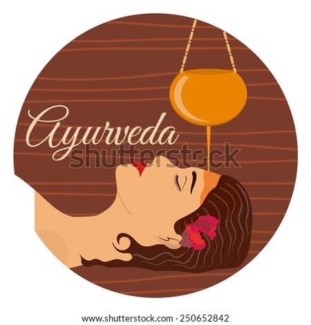 Ayurveda, ayurvedic treatment. Beautiful woman making shirodara procedure with oil. Vector illustration - stock vector