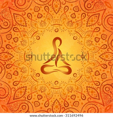 ayurvedic body in frame of indian style on orange background, vector illustration - stock vector
