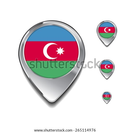 Azerbaijan flag map pointer. 3d Map Pointer with flag glossy button style on gray background - stock vector