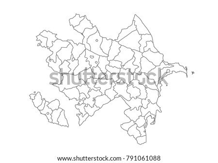 Superior Azerbaijan Map With Country Borders, Thin Black Outline On White  Background. High Detailed Vector