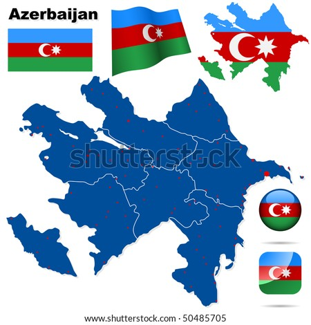 Azerbaijan vector set. Detailed country shape with region borders, flags and icons isolated on white background - stock vector