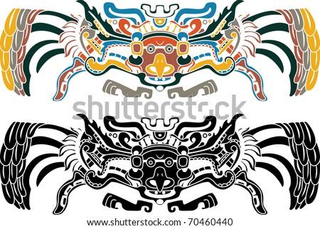 Aztec bird stencil in two variants - stock vector