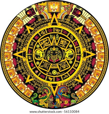 Aztec Calendar Color - stock vector