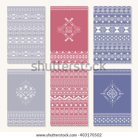 Aztec design, set of cards. Stylish tribal geometric backgrounds. Templates for invitations, postcards, notepads with aztec ornaments. Vector illustration. - stock vector