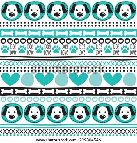aztec dog pattern vector illustration - stock vector