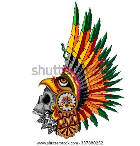 Aztec Eagle Warrior Skull - stock vector