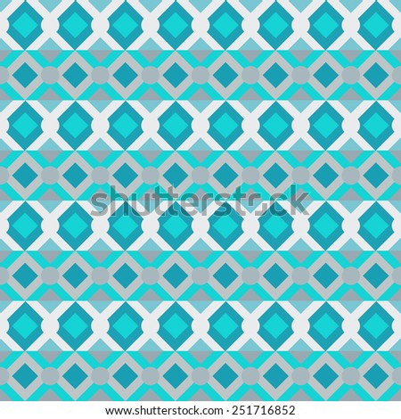 Aztec ethnic seamless pattern. Abstract geometric tribal art turquoise texture. Folk repeating background. Squares, rhombus. Cloth design. Wallpaper, wrapping