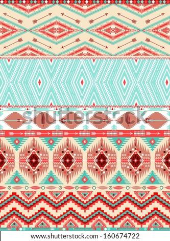 Aztec geometric seamless pattern - stock vector