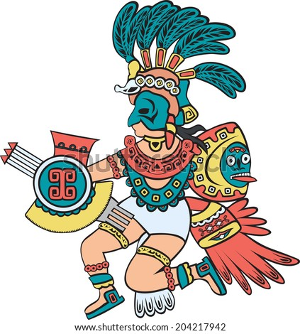Aztec god, color version, cartoon style - stock vector