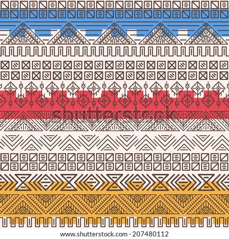 Aztec pattern. Vector tribal background