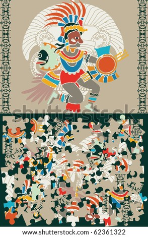 Aztec puzzle, slices and the decision - stock vector