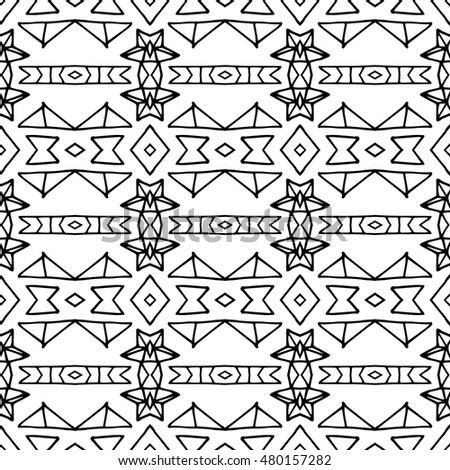 Aztec seamless vector pattern. Repeating geometric tiles. Modern stylish texture. Monochrome aztec design. Hand drawn tribe motif.