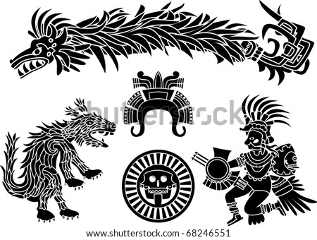 Aztec stencil set - stock vector