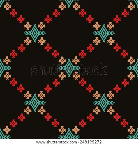 Aztec tribal art colorful seamless. Ethnic mexican print. Folk repeating background texture - stock vector