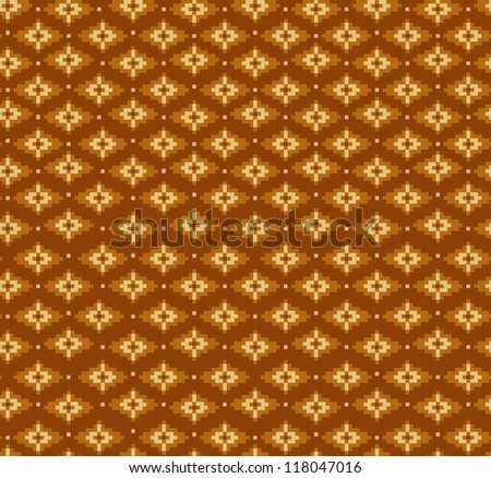 Aztecs seamless pattern on brown colors - stock vector