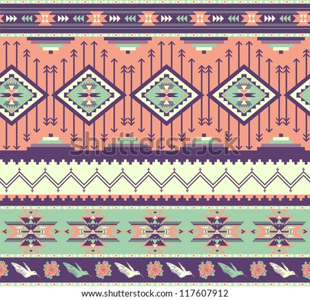 Aztecs seamless pattern on pink color - stock vector