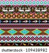 Aztecs seamless pattern with skull, leaf, feather, flowers and dear - stock photo