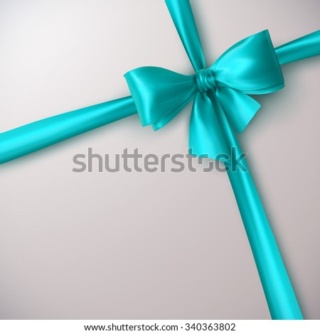 Azure Bow And Ribbon. Vector Holiday Illustration. Decoration Element For Design  - stock vector