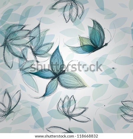 Azure Flowers like Butterflies / Surreal seamless pattern - stock vector