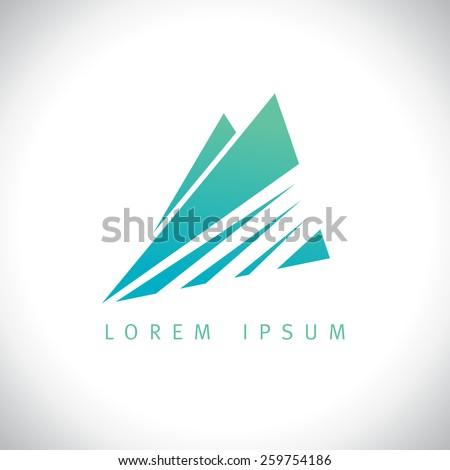 Azure mountains in sunshine logo concept. - stock vector