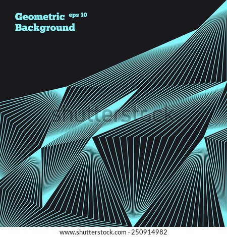 Azure neon abstract geometric background. - stock vector