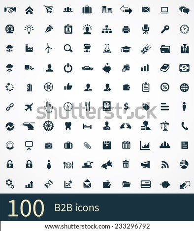 B2B Icons Vector set. B2B Icons Symbol set. B2B Icons Picture set. B2B Icon Image set. B2B Icons Shape set. B2B Icons Sign set 100 B2B icons on white background  - stock vector