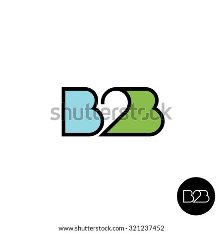 B2B letters logo. Linear style. - stock vector