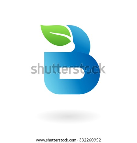 B letter business logo design template. Abstract vector elements for corporate identity emblem, label or icon of eco friendly company - stock vector