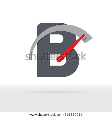 B Letter Car Speedometer, B Letter Meter Logo - stock vector